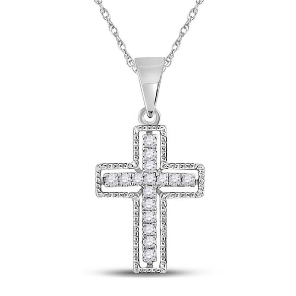 Round Diamond Roman Cross Pendant 1/10 Cttw 10KT White Gold