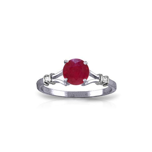 Genuine 1.02 ctw Ruby & Diamond Ring 14KT White Gold - REF-30R9P