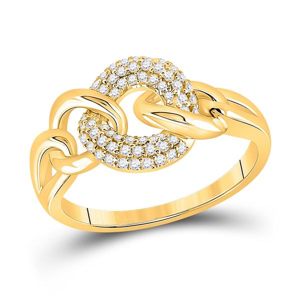 Round Diamond Curb Link Fashion Ring 1/5 Cttw 14KT Yellow Gold