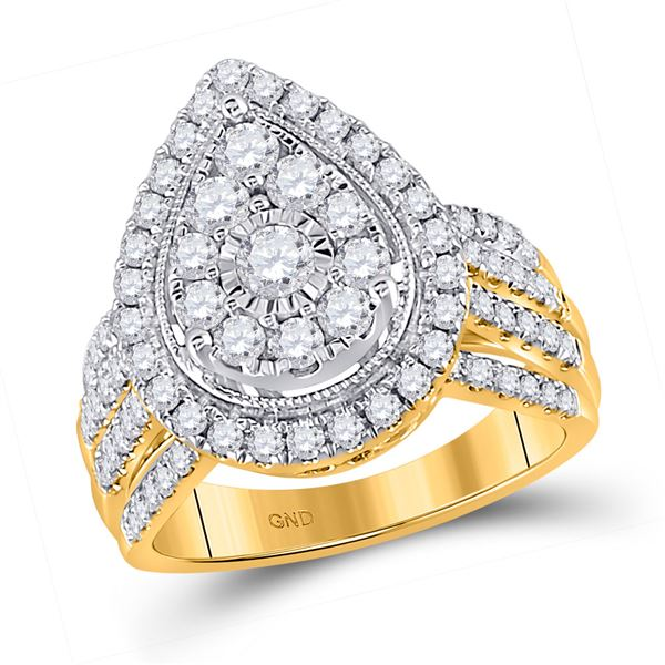 Round Diamond Teardrop Pear Cluster Ring 1-1/2 Cttw 14KT Yellow Gold