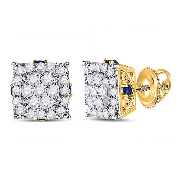Round Diamond Square Cluster Earrings 1/2 Cttw 14KT Yellow Gold