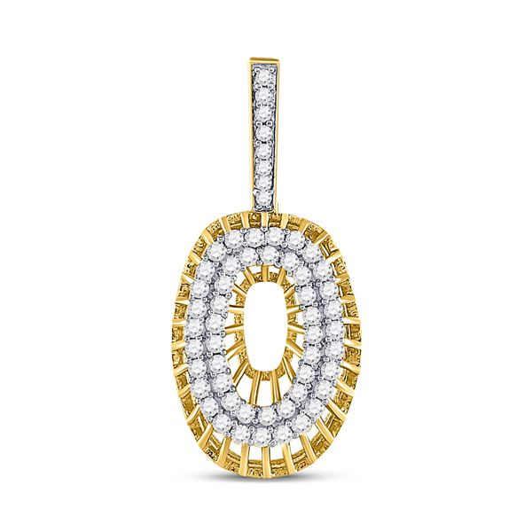 Round Diamond O Letter Charm Pendant 1 Cttw 10KT Yellow Gold