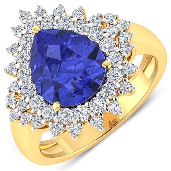 Natural 4.14 CTW Tanzanite & Diamond Ring 14K Yellow Gold - REF-148W6X