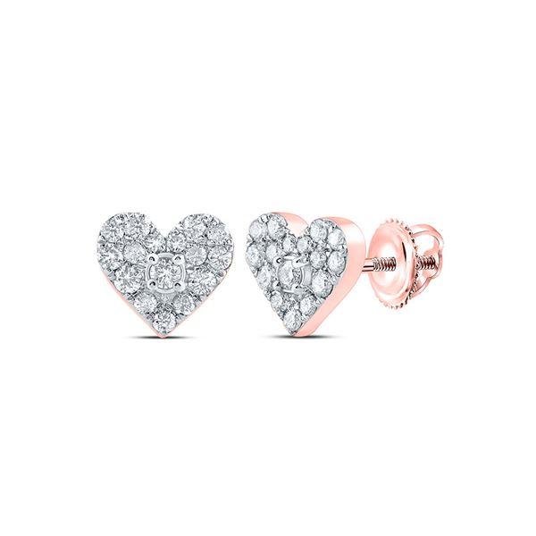 Round Diamond Heart Earrings 1/3 Cttw 10KT Rose Gold