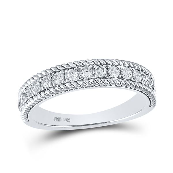 Round Diamond Rope Band Ring 1/2 Cttw 14KT White Gold