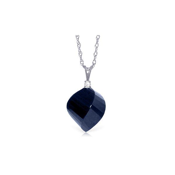 Genuine 15.3 ctw Sapphire & Diamond Necklace 14KT White Gold - REF-31Y4F