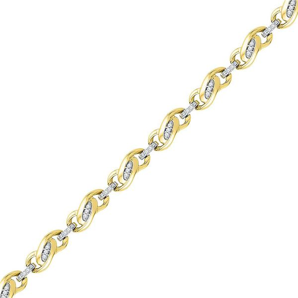 Round Diamond Fashion Link Bracelet 1/4 Cttw 10KT Yellow Gold