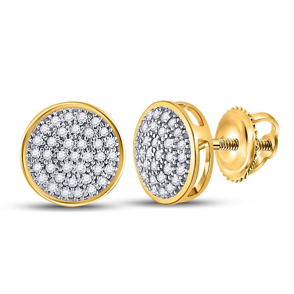 Round Diamond Circle Cluster Stud Earrings 1/5 Cttw 10KT Yellow Gold