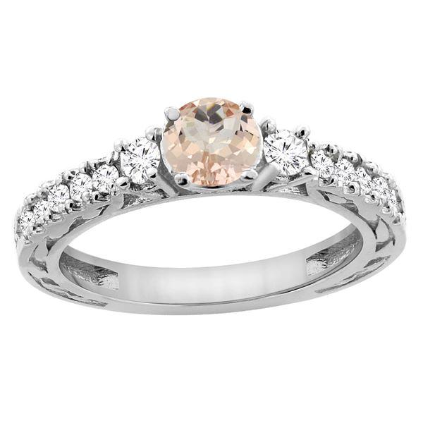 1.05 CTW Morganite & Diamond Ring 14K White Gold - REF-82M3K