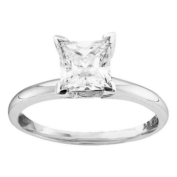 Princess Diamond Solitaire Bridal Wedding Engagement Ring 7/8 Cttw 14KT White Gold