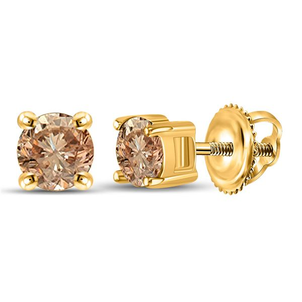 Round Brown Diamond Stud Earrings 1/2 Cttw 10KT Yellow Gold