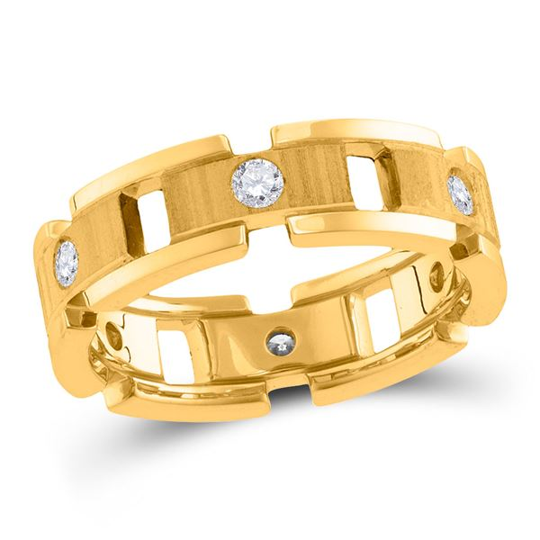 Round Diamond Link Chain Wedding Band Ring 1/2 Cttw 14KT Yellow Gold