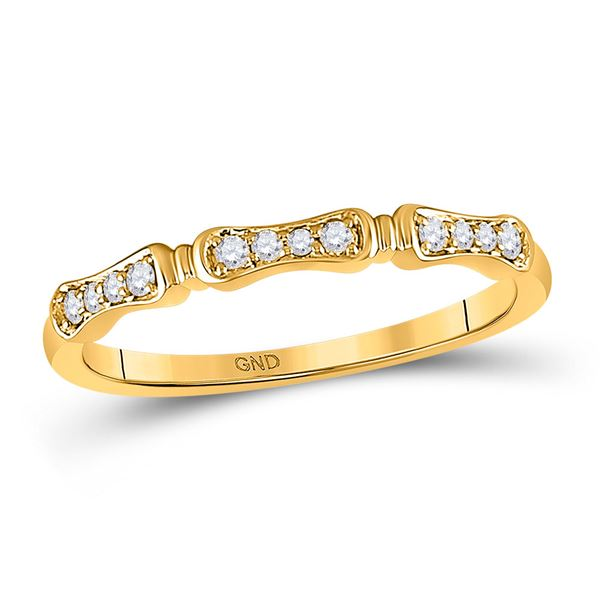 Round Diamond Stackable Band Ring 1/10 Cttw 10KT Yellow Gold