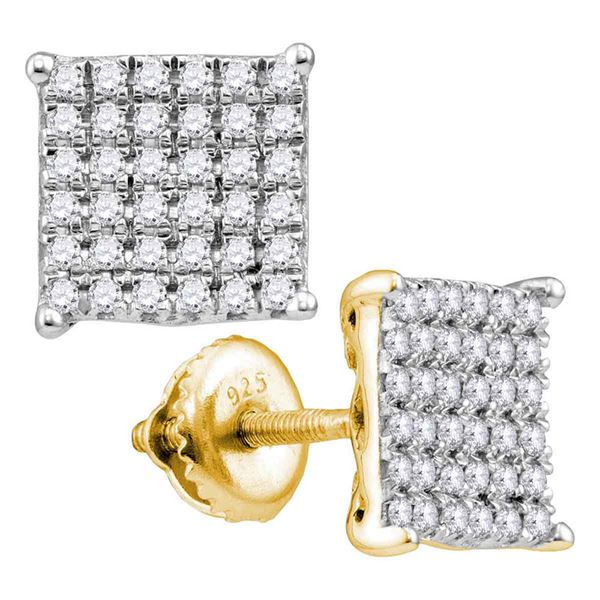 Round Diamond Square Cluster Stud Earrings 3/4 Cttw 10KT Yellow Gold