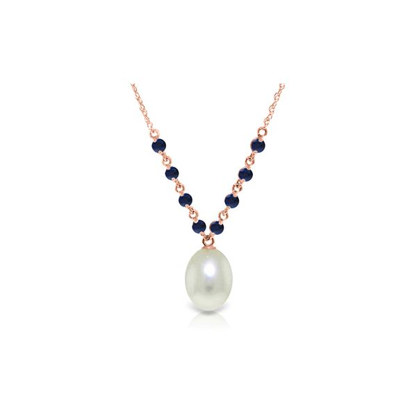 Genuine 5 ctw Pearl & Sapphire Necklace 14KT Rose Gold - REF-28N4R