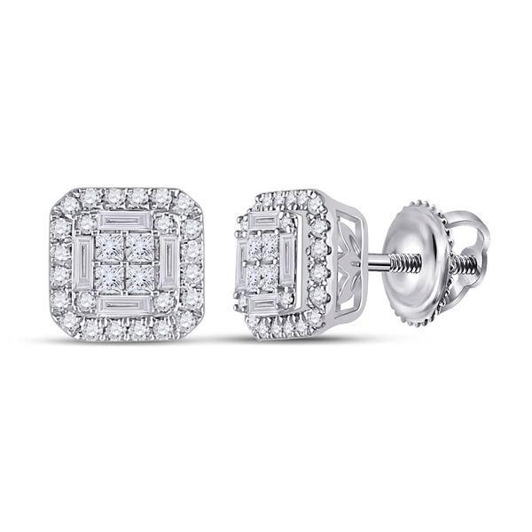 Baguette Diamond Square Earrings 1/2 Cttw 14KT White Gold