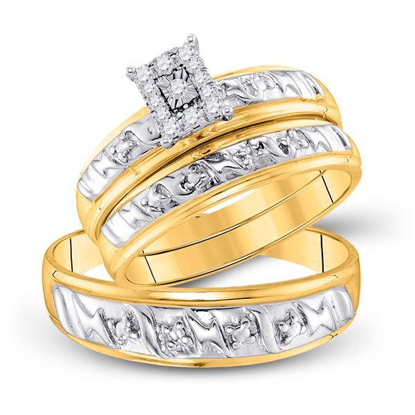 Diamond Solitaire Matching Wedding Set 1/10 Cttw 10KT Yellow Gold