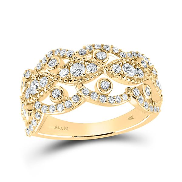 Round Diamond Rounded Edge Band Ring 1 Cttw 14KT Yellow Gold