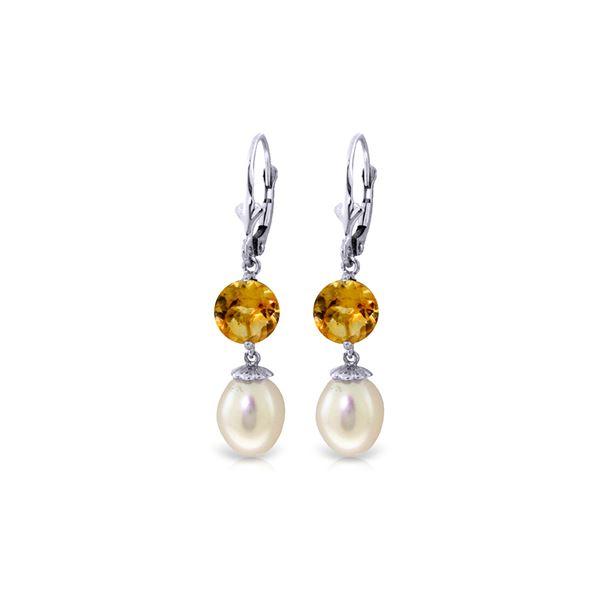 Genuine 11.10 ctw Pearl & Citrine Earrings 14KT White Gold - REF-26X6M