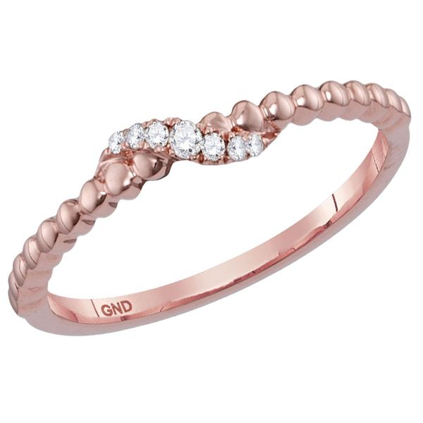 Round Diamond Crossover Stackable Band Ring 1/20 Cttw 14KT Rose Gold