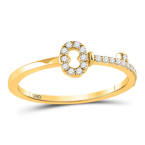 Round Diamond Key Stackable Band Ring 1/8 Cttw 10KT Yellow Gold