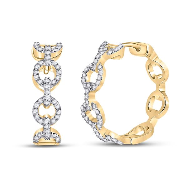 Round Diamond Cable Link Hoop Earrings 1/3 Cttw 10KT Yellow Gold