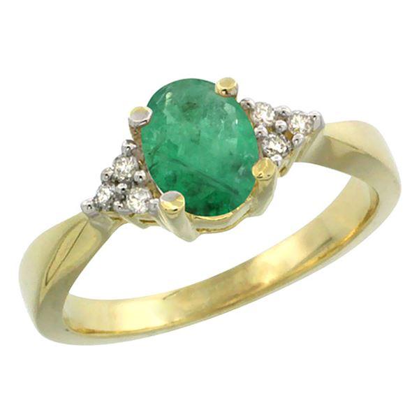 1.06 CTW Emerald & Diamond Ring 14K Yellow Gold - REF-40X3M