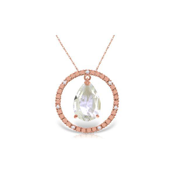 Genuine 6.6 ctw White Topaz & Diamond Necklace 14KT Rose Gold - REF-52N9R