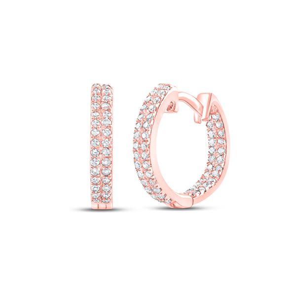 Round Diamond Hoop Earrings 1/5 Cttw 10KT Rose Gold