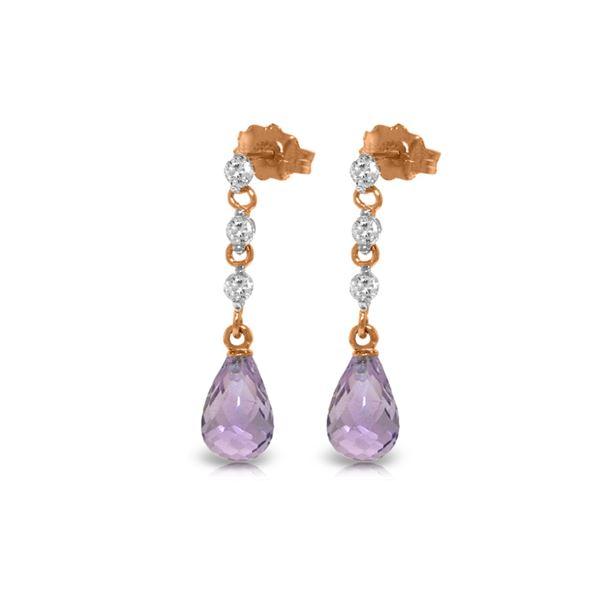 Genuine 3.3 ctw Amethyst & Diamond Earrings 14KT Rose Gold - REF-42N9R