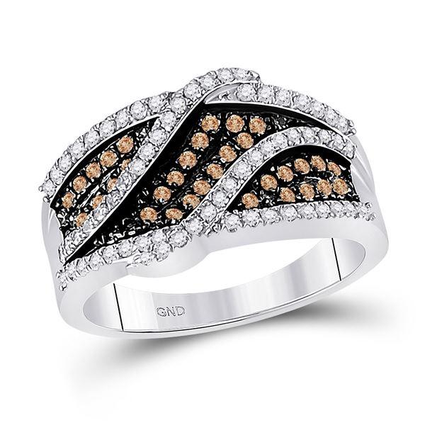 Round Brown Diamond Fashion Ring 3/4 Cttw 10KT White Gold
