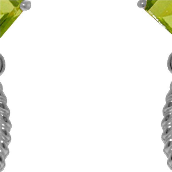 Genuine 3.5 ctw Peridot Earrings 14KT White Gold - REF-33W8Y