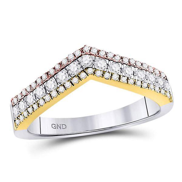 Round Diamond Chevron Band Ring 1/2 Cttw 10KT Tri-Tone Gold