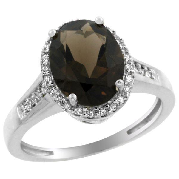 2.60 CTW Quartz & Diamond Ring 14K White Gold - REF-54Y7V