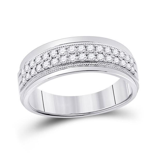 Round Diamond Wedding Machine Set Band Ring 1/2 Cttw 10KT White Gold