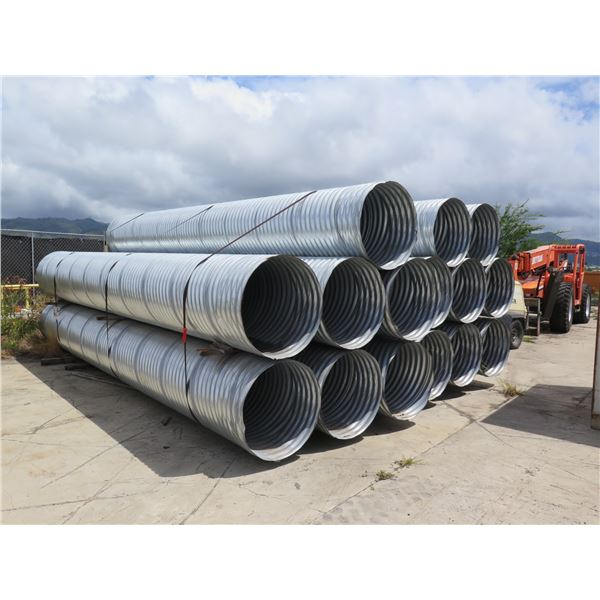 Qty 15 Galvanized Steel Culvert Pipe 20ft Long 31 Inches Wide 16ga
