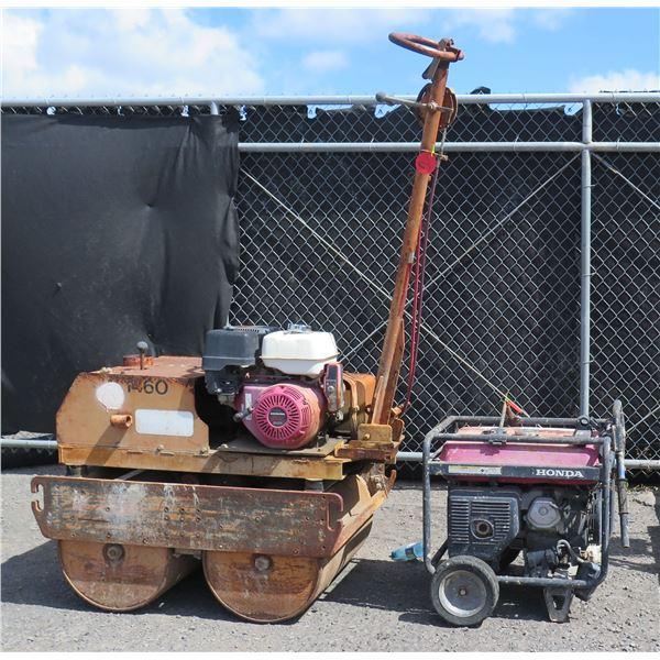 Honda EB4000 Portable Industrial Generator & Walk-Behind Portable Roller 1480