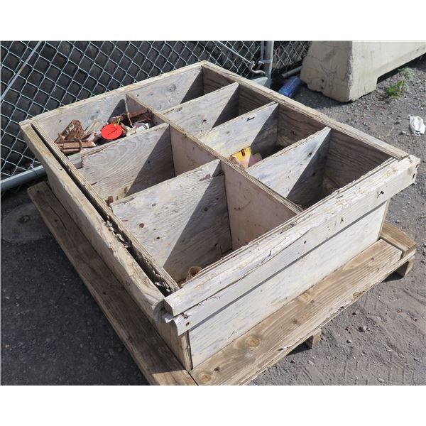 Wooden Box & Contents: Bases, Ratchets, Machine Bolts, etc