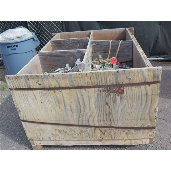 Wooden Box & Contents: Hangers, Wire, Shackles, Angle Braces, etc