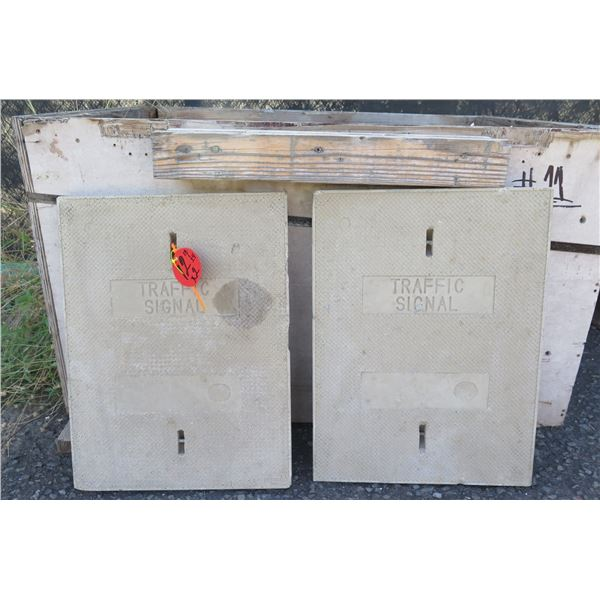 "Qty 2 Concrete Traffic Signal Cover Plates 18""x24"""