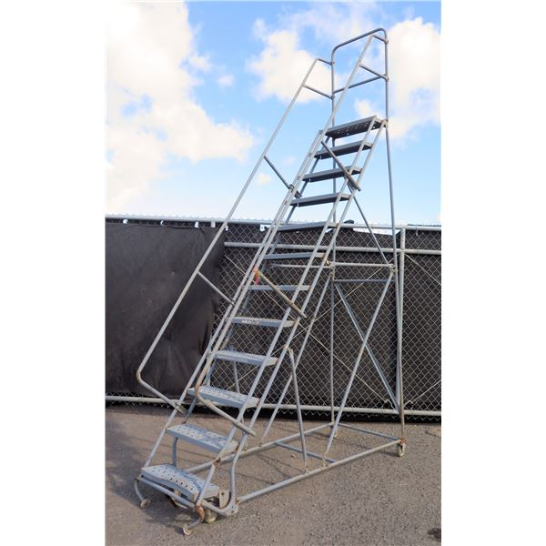 Metal 12 Step Rolling Warehouse Staircase Ladder