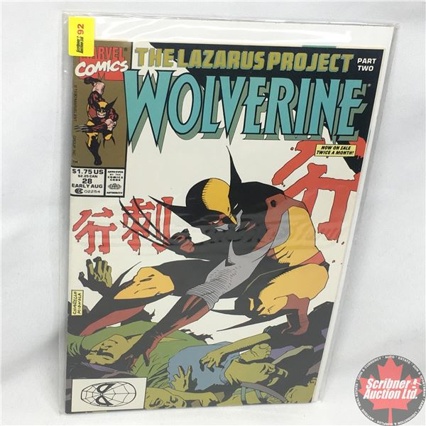 MARVEL: Wolverine 28, Early August 1990:  The Lazarus Project - Part Two - The Stranger