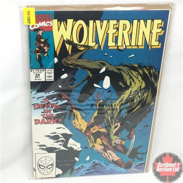 MARVEL: Wolverine 34, December 1990: A Devil in the Dark  - Stan Lee Presents: The Hunter in Darknes