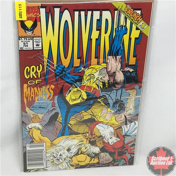 MARVEL: Wolverine 51, February 1992: Cry of Madness -  Stan Lee Presents: Heartbreak Motel
