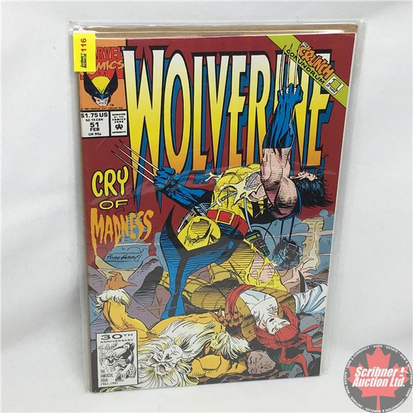 MARVEL: Wolverine 51, February 1992: Cry of Madness -  Stan Lee Presents: Heartbreak Motel (30th Ann
