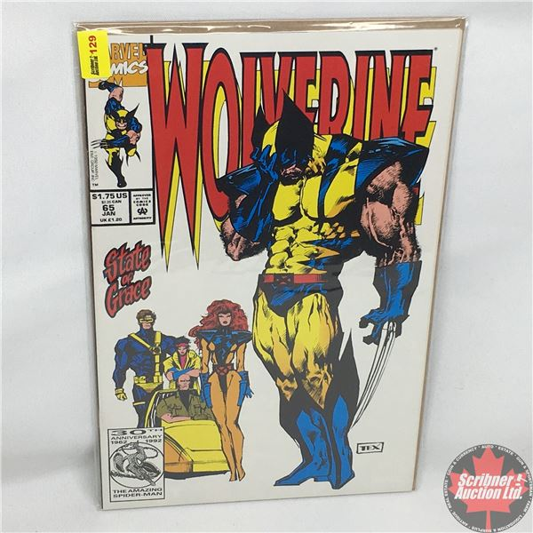 MARVEL: Wolverine 65, January 1993:  Stan Lee Presents and Adventure of Wolverine in... State of Gra