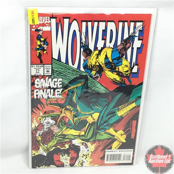MARVEL: Wolverine 71, July 1993: Savage Finale!   -   Triassic Park -  Direct Edition