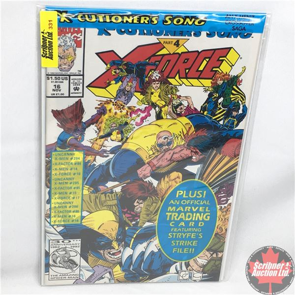 MARVEL:  X-Force - Vol. 1, No. 16, November 1992 -  X-Cutioner's Song - Part 4 (Sealed w/ trading ca