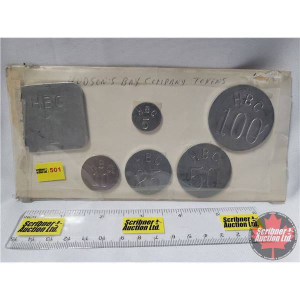 Hudson's Bay Trading Tokens  HBC  : RARE SET (Round 5, 10, 25, 50, 100 & 1 Square)  (In about 1946 t