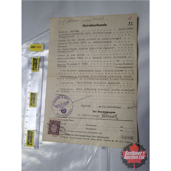 Vintage Document: German WWII Marriage Certificate December 30, 1942